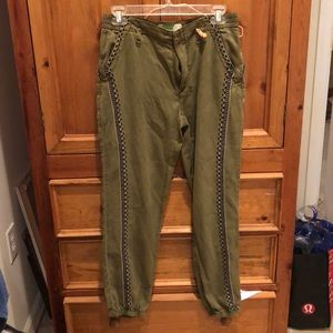 WORN ONCE Anthro embroidered joggers